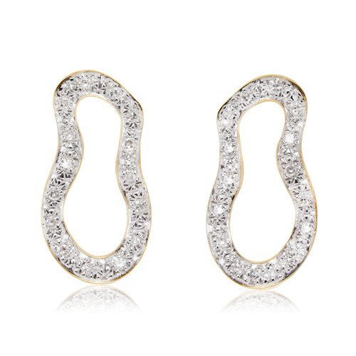 Gold Vermeil Riva Pod Stud Earrings - Diamond - Monica Vinader