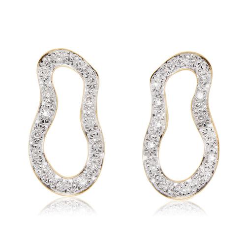 Gold Vermeil Riva Pod Stud Earrings - Diamond - Monica Vinader