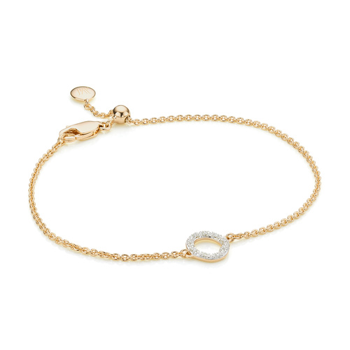 Gold Vermeil Riva Mini Circle Bracelet - Diamond - Monica Vinader