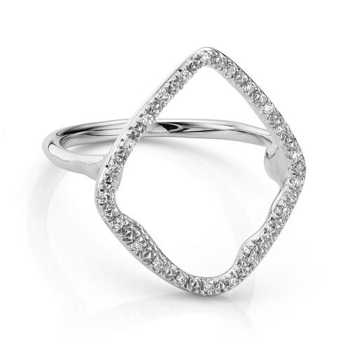 Sterling Silver Riva Hoop Cocktail Ring - Diamond - Monica Vinader