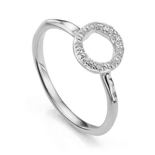 Sterling Silver Riva Mini Circle Stacking Ring - Diamond - Monica Vinader