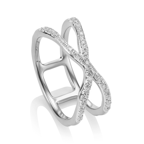 Sterling Silver Riva Wave Cross Ring - Diamond - Monica Vinader