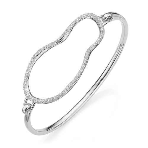 Sterling Silver Riva Large Pod Hook Bangle - Medium - Diamond - Monica Vinader