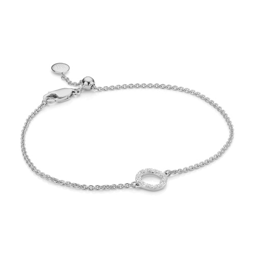 Sterling Silver Riva Mini Circle Bracelet - Diamond - Monica Vinader