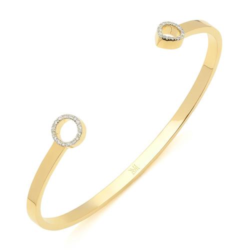 Gold Vermeil Naida Thin Open Cuff - Medium - Diamond - Monica Vinader