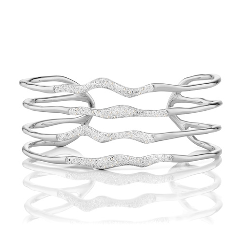 Sterling Silver Riva Diamond Hero Wave Cuff - Large - Diamond - Monica Vinader