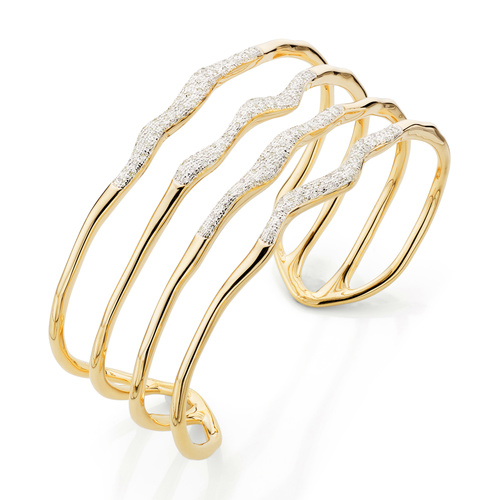 Gold Vermeil Riva Diamond Hero Wave Cuff - Small - Diamond - Monica Vinader