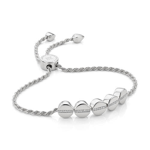 Sterling Silver Linear Bead Diamond Row Friendship Chain Bracelet - Diamond - Monica Vinader