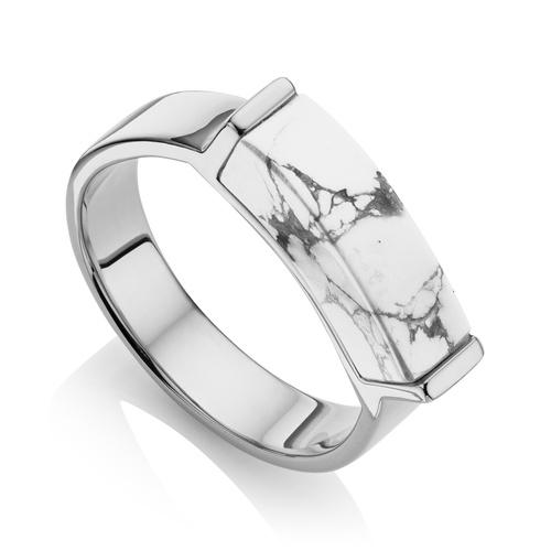 Linear Stone Ring - Howlite - Monica Vinader