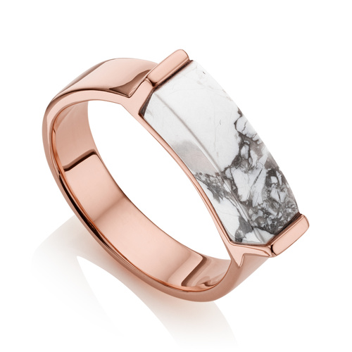 Rose Gold Vermeil Linear Stone Ring - Howlite - Monica Vinader