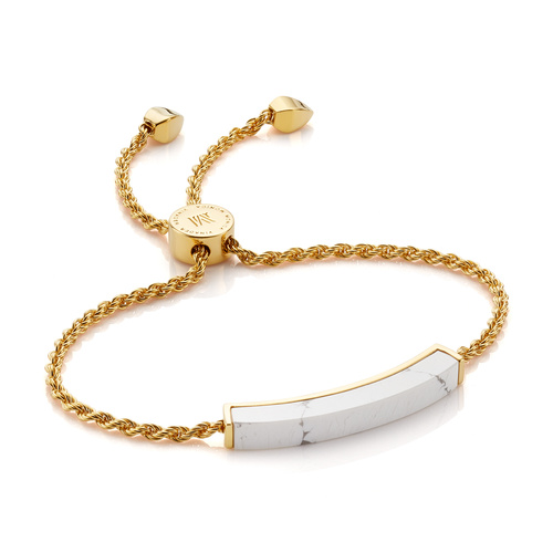 Gold Vermeil Linear Stone Bracelet - Howlite - Monica Vinader
