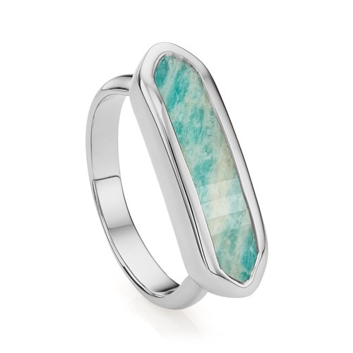 Sterling Silver Baja Ring - Amazonite - Monica Vinader