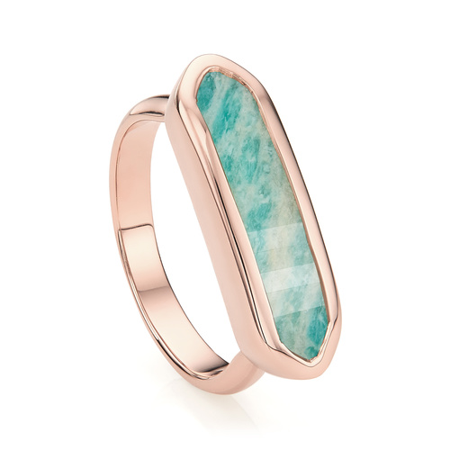 Rose Gold Vermeil Baja Ring - Amazonite - Monica Vinader