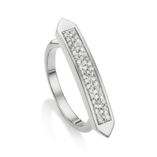 Sterling Silver Baja Skinny Ring - Diamond - Monica Vinader