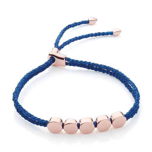 Rose Gold Vermeil Linear Bead Friendship Bracelet - Navy Metallica - Monica Vinader
