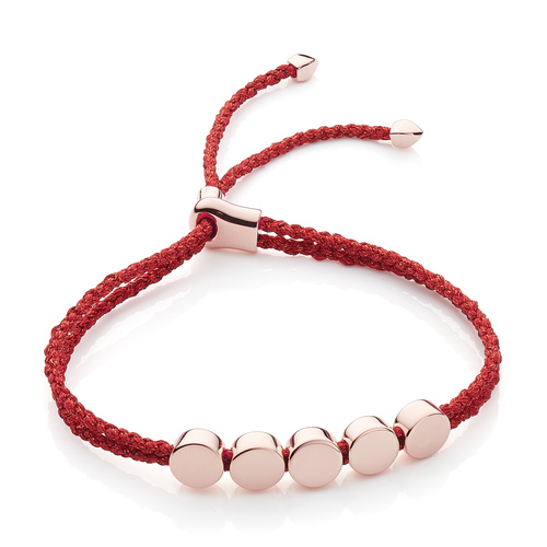 Rose Gold Vermeil Linear Bead Friendship Bracelet - Red Metallica - Monica Vinader