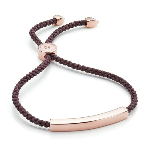 Rose Gold Vermeil Linear Friendship Petite Bracelet - Aubergine - Monica Vinader