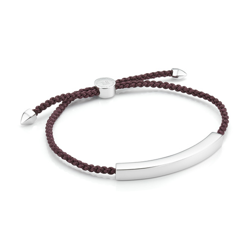 Sterling Silver Linear Large Men's Friendship Bracelet - Aubergine - Monica Vinader