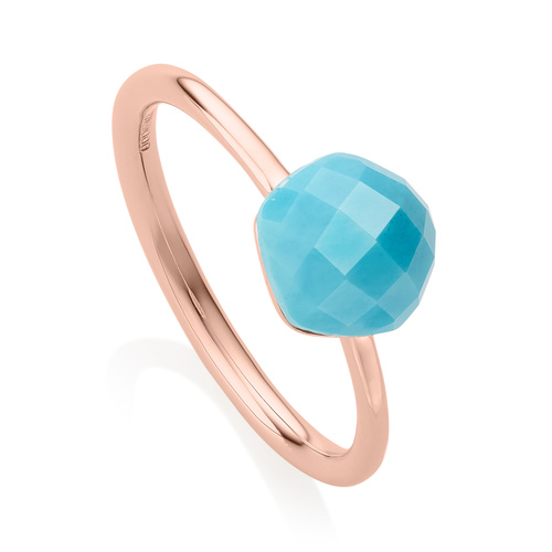 Rose Gold Vermeil Nura Mini Nugget Stacking Ring - LIMITED EDITION - Turquoise - Monica Vinader