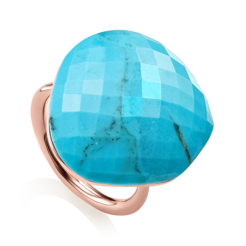 Rose Gold Vermeil Nura Large Pebble Ring - Turquoise - Monica Vinader