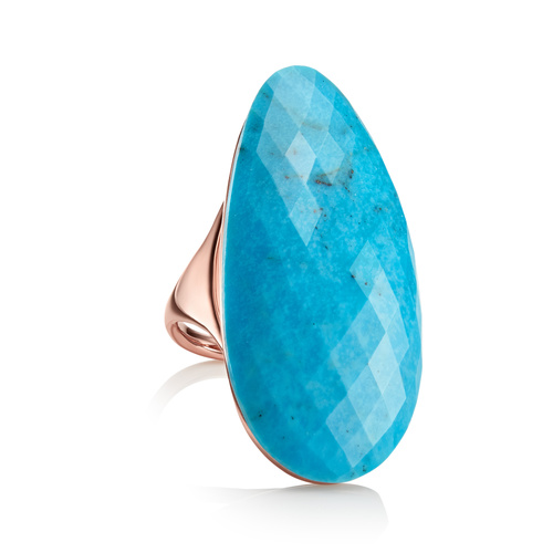 Rose Gold Vermeil Nura Cocktail Ring - Turquoise - Monica Vinader