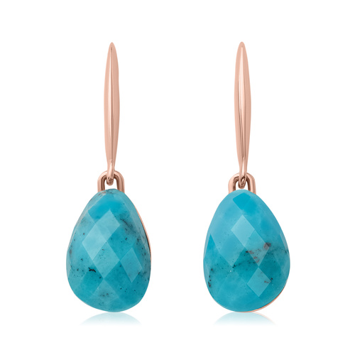 Rose Gold Vermeil Nura Small Teardrop Earrings - LIMITED EDITION - Turquoise - Monica Vinader