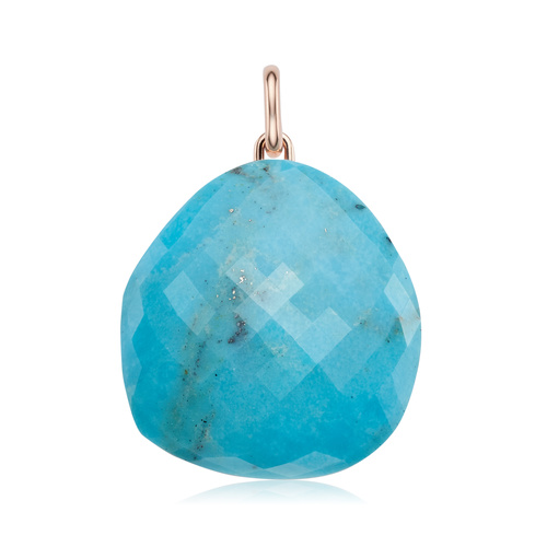 Rose Gold Vermeil Nura Large Pebble Pendant - Turquoise - Monica Vinader