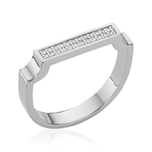 Sterling Silver Signature Diamond Ring - Diamond - Monica Vinader