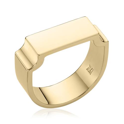 Gold Vermeil Signature Wide Ring - Monica Vinader