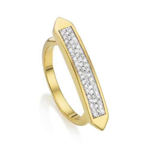 Gold Vermeil Baja Skinny Ring - Diamond - Monica Vinader