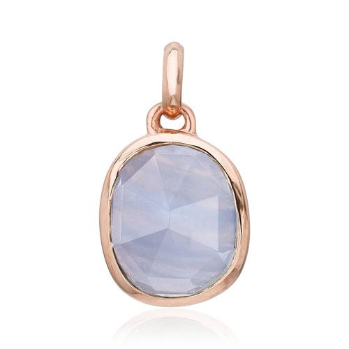 Rose Gold Vermeil Siren Medium Bezel Pendant Charm - Blue Lace Agate - Monica Vinader