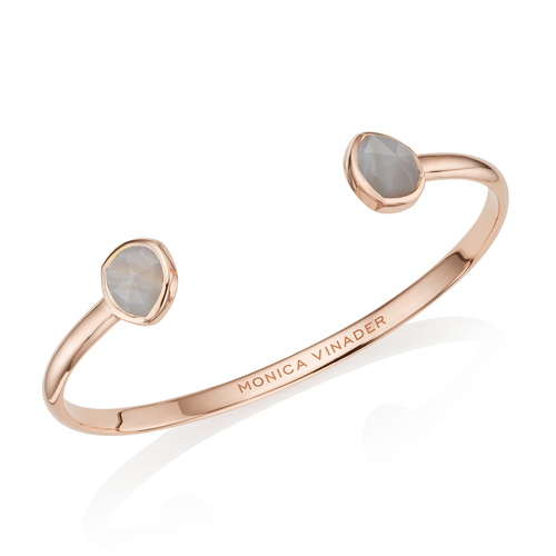 Rose Gold Vermeil Siren Thin Cuff - Grey Agate - Monica Vinader