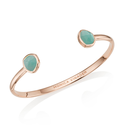 Rose Gold Vermeil Siren Thin Cuff - Large - Amazonite - Monica Vinader