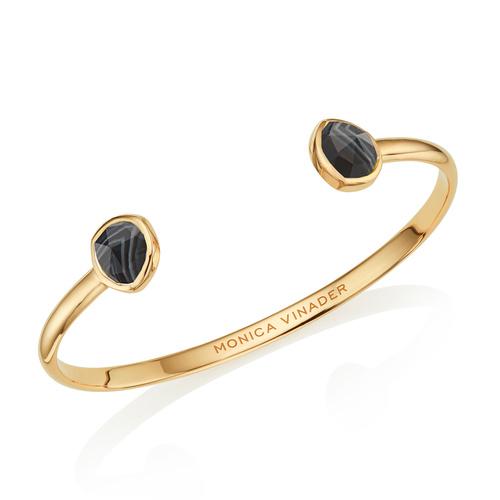 Gold Vermeil Siren Thin Cuff - Small - Black Line Onyx - Monica Vinader