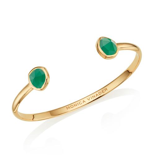 Gold Vermeil Siren Thin Cuff - Large - Green Onyx - Monica Vinader