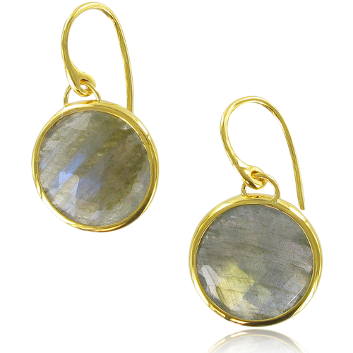 Gold Vermeil Luna Wire Earrings - Labradorite - Monica Vinader