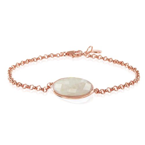 Rose Gold Vermeil Luna Bracelet - Moonstone - Monica Vinader