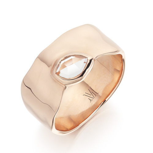 Rose Gold Vermeil Siren Wide Band - White Topaz - Monica Vinader