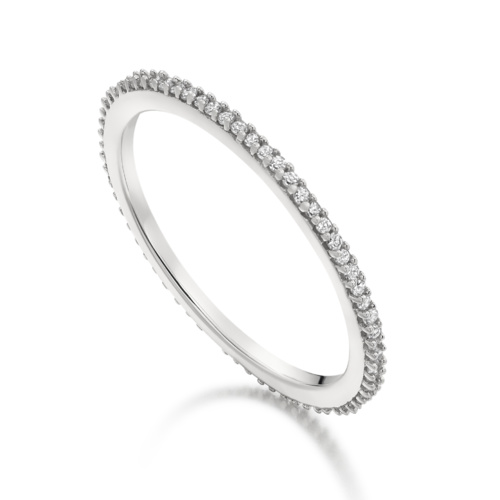 Sterling Silver Skinny Eternity Ring - Diamond - Monica Vinader