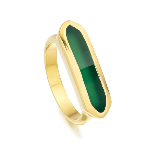 Gold Vermeil Baja Ring - Green Onyx - Monica Vinader