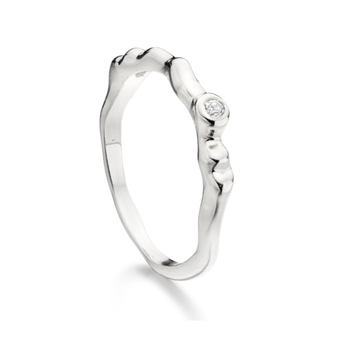 Sterling Silver Siren Band - White Topaz - Monica Vinader