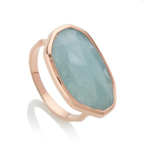 Rose Gold Vermeil Capri Ring - Aquamarine