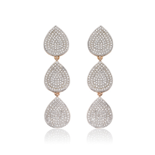 Rose Gold Vermeil Alma Cocktail Earrings - Diamond