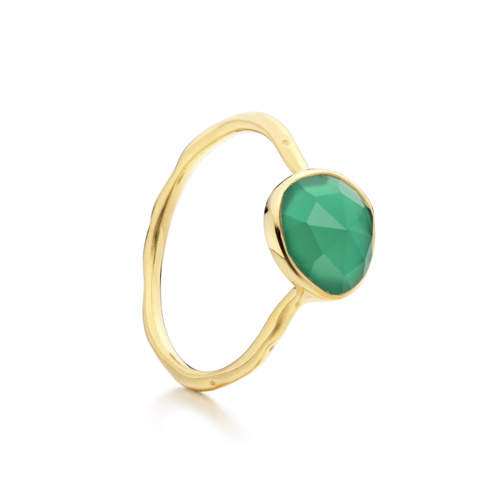 Gold Vermeil Siren Stacking Ring - Green Onyx - Monica Vinader