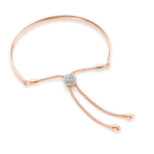 Rose Gold Vermeil Fiji Diamond Toggle Petite Bracelet - Diamond - Monica Vinader