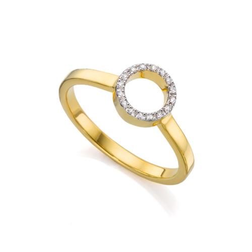 Gold Vermeil Naida Mini Circle Open Ring - Diamond