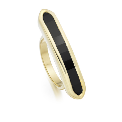 Gold Vermeil Baja Long Ring - Black Onyx - Monica Vinader
