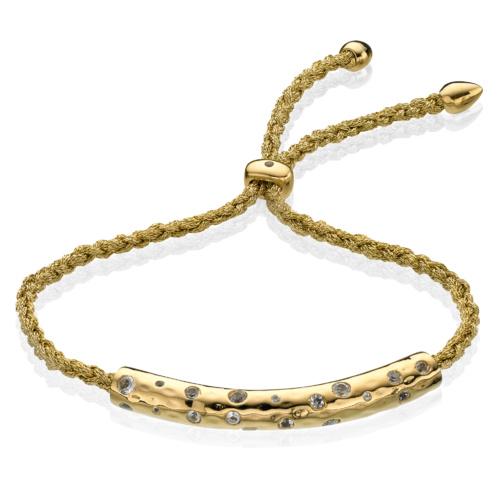 Gold Vermeil Esencia Scatter Friendship Bracelet - Generosity - White Topaz - Monica Vinader