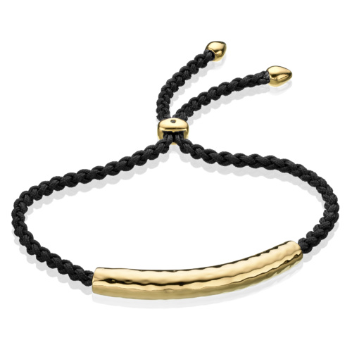 Gold Vermeil Esencia Friendship Bracelet - Black Spinel - Monica Vinader
