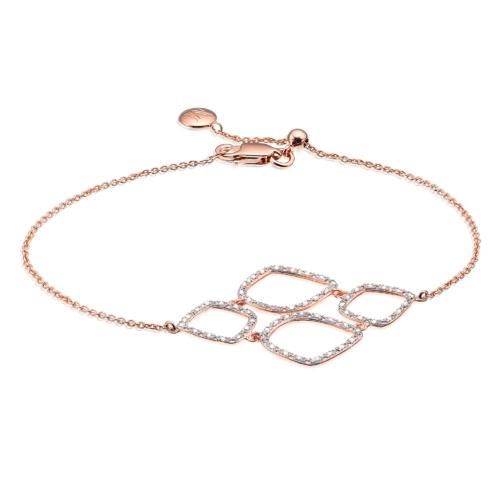Rose Gold Vermeil Riva Diamond Cluster Bracelet - Diamond - Monica Vinader